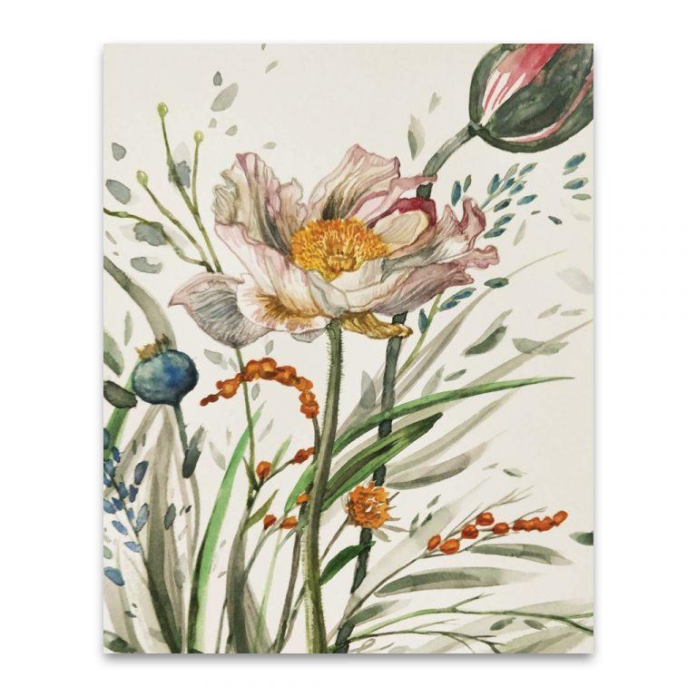 golden wildflowers art print